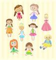 Cute female dolls set lovely toys for little