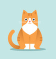 Cute happy red cat in flat style
