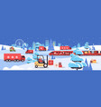 different transport delivering gifts merry vector image