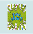 easter greeting card egg hunt inscription and vector image
