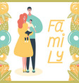 family and flowers on white background vector image