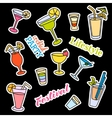 Fashion patch badges Cocktail set Stickers pins vector image vector image