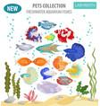 freshwater aquarium fishes breeds icon set flat vector image
