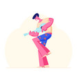 full height young man playing ukulele guitar vector image