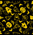 halloween emotions pattern vector image