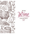hand drawn wine background wine bottles wineglass vector image vector image