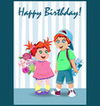 happy birthday greeting card nice cartoon kids vector image vector image