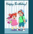 happy birthday greeting card of nice cartoon kids vector image vector image