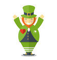 happy leprechaun with hands up vector image