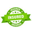 insured ribbon insured round green sign insured vector image vector image