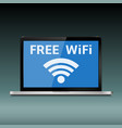 laptop with free wifi sign on display vector image vector image