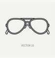 line flat plain vintage fashion sunglasses vector image