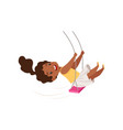 lovely african american girl swinging on a rope vector image