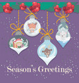 lovely christmas greeting with ornamental elements vector image