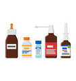 medical means for cough and runny nose in bottles vector image