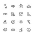 money and finance - flat line icons vector image