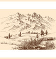mountains panorama hand drawing travel or tourism vector image vector image