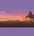 painted desert landscape at sunset with palm tree vector image vector image