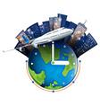 Plane travel around the world vector image