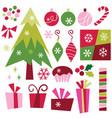 retro christmas elements vector image vector image