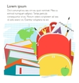School template with backpack and books with text vector image
