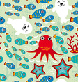 Seamless pattern with fish sea lions octopus vector image
