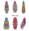 Set of Decorative Bird Feather for Boho Style vector image vector image