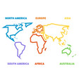 simplified thick outline of world map divided to vector image vector image