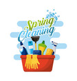 spring cleaning poster with bucket bottle spray vector image vector image