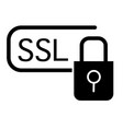 ssl security solid icon certificate protected vector image vector image