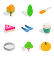 strict vegetarian icons set isometric style vector image vector image