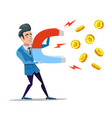 successful businessman mining bitcoin with magnet vector image vector image