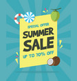 summer sale banner on the beach vector image