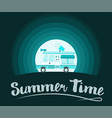 summer time poster ice cream truck vector image vector image