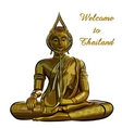thai gold buddha meditation on a white background vector image vector image