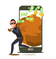 thief and smartphone bandit with bag vector image vector image