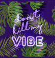 tropical beach party banner with neon lettering vector image
