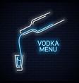 vodka bottle neon logo vodka shot neon sign on vector image