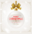 white christmas bauble with gold bow ribbon vector image