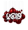 white festive 2019 new year card with red vector image vector image