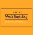 world music day flat background style vector image vector image