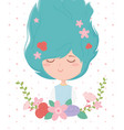young woman flowers in hair frame decoration vector image