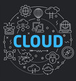 black line flat circle cloud vector image