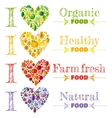 Organic food banner set template heart icons vector image