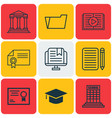 set of 9 school icons includes graduation vector image