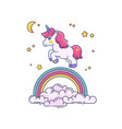 flat with cute unicorn and rainbow vector image