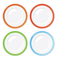 Set of four clean plates with coloured borders vector image
