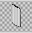 3d isometric black smartphone mockup with blank vector image vector image