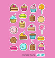 a set stickers with sweets in style of vector image