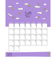 april 2019 wall calendar doodle style vector image